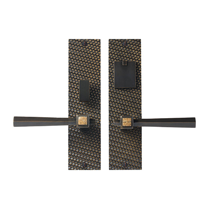 Solid Bronze Amora Royale Lever Mortise Entry Set with Jasper Pather Inlay
