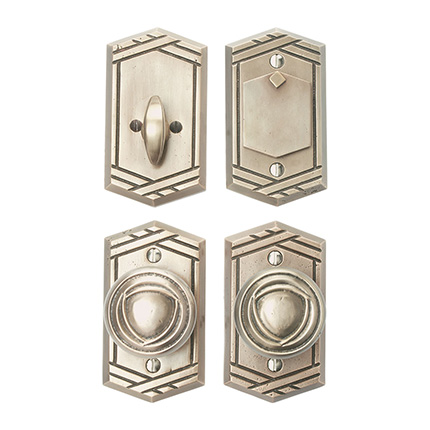 Solid Bronze Art Deco Knob Deadbolt Entry Set