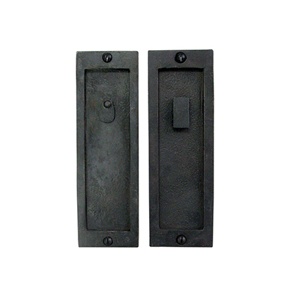 Hand Forged Iron 8 inch Pocket Door Privacy Set