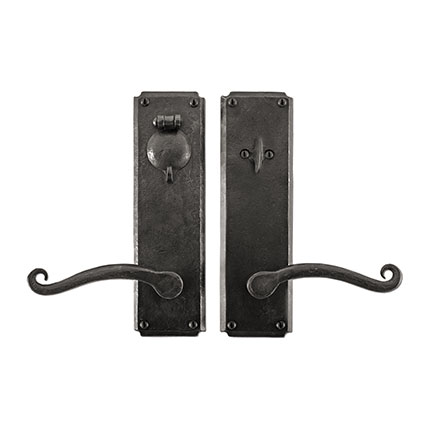 Hand Forged Iron Scrolled Lever Deadbolt Entry Set