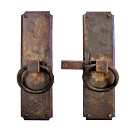 Hand Forged Iron Vertical Strike-bar Latch Passage Set with Ring Pulls