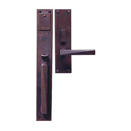 Hand Forged Iron Milan II Thumblatch-Lever Mortise Entry Set